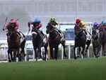Nothingilikemore (yellow and green) to the lead ahead of a wall of chasers in the Hong Kong Classic Mile today.