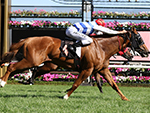 Redkirk Warrior winning Race 8, Black Caviar Lightning during Melbourne Racing at Flemington Racecourse in Melbourne, Australia.