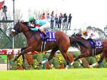 ALMOND EYE winning the Shuka Sho at Kyoto in Japan.