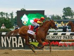 JUSTIFY winning the Belmont Stakes Presented By Nyra Bets Race at Belmont Park in New York.