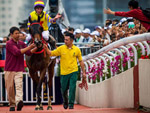 Ryan Moore enjoys a first BMW Hong Kong Derby victory on Ping Hai Star.