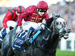 ROARING LION winning the Queen Elizabeth II Stakes during QIPCO British Champions Day in Ascot, England.