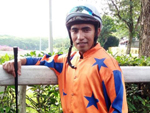 Mohd Firdaus proudly dons his new colours (Mark Walker's main supporter Te Akau Stable) at the barrier trials on Tuesday