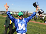 Jockey: HUGH BOWMAN celebrating after, Winx winning the Turnbull Stakes