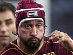 JOHNATHAN THURSTON of the Maroons runs the ball during the State Of Origin series at ANZ Stadium in Sydney, Australia.