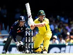 AARON FINCH of Australia plays a shot during game two of the One Day International series between Australia and England at The Gabba in Brisbane, Australia.
