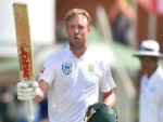 AB DE VILLERS of South Africa celebrates scoring 100 runs during 2nd Sunfoil Test match between South Africa and Australia at St Georges Park on in Port Elizabeth, South Africa.