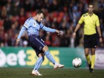 ADAM LE FONDRE of Sydney FC kick during the FFA Cup match between the Western Sydney Wanderers and Sydney FC at Panthers Stadium in Penrith, Australia.