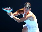AJLA TOMLJANOVIC of Australia plays a backhand in her match against Lucie Safarova of the Czech Republic of the 2018 Australian Open at Melbourne Park in Australia.