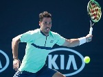 ALEX BOLT of Australia plays a forehand in his first round match against Viktor Troicki of Serbia of the 2018 Australian Open at Melbourne Park in Melbourne, Australia.