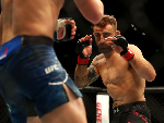 ALEXANDER VOLKANOVSKI of Australia shapes to fight Shane Young of New Zealand during the UFC Fight Night at Qudos Bank Arena in Sydney, Australia.