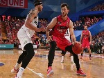 ANGUS BRANDT of the Wildcats works to the basket against Josh Boone of United during the NBL match between the Perth Wildcats and Melbourne United at RAC Arena in Perth, Australia.