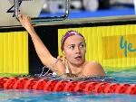 ARIARNE TITMUS wins the final of the Women's 200m Freestyle event during the Australia Swimming National Trials at the Optus Aquatic Centre in Gold Coast, Australia.