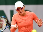 ARINA RODIONOVA of Australia plays a forehand during the Women's Singles match against Ana Konjuh of Croatia of the French Open at Roland Garros in Paris, France.