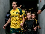 ASH HEWSON leads the Wallaroos onto the field during the International Test match between the New Zealand Black Ferns and Australia Wallaroos at North Harbour Stadium in Auckland, New Zealand.