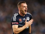 BESART BERISHA of the Victory celebrates after scoring a goal during the 2017 A-League Grand Final match between Sydney FC and the Melbourne Victory at Allianz Stadium in Sydney, Australia.
