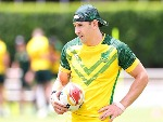 BILLY SLATER looks on during the Australian Kangaroos Rugby League World Cup training session at Langlands Park in Brisbane, Australia.