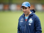 BRAD SCOTT, Senior Coach of the Kangaroos looks on during the North Melbourne Kangaroos training session at Arden St in Melbourne, Australia.