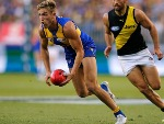 BRAD SHEPPARD of the Eagles looks to handball during the AFL match between the West Coast Eagles and the Richmond Tigers at OS in Perth, Australia.