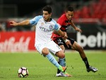 BRUNO FORNAROLI of Melbourne City is challenged by KEARYN BACCUS of the Wanderers during the A-League match between the Western Sydney Wanderers and Melbourne City FC at Spotless Stadium in Sydney, Australia.