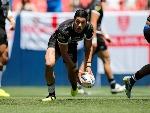 DALLIN WATENE-ZELEZNIAK of New Zealand passes the ball during a Rugby League Test Match between England and the New Zealand Kiwis at Sports Authority Field at Mile High in Denver, Colorado.