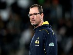 DAN MCKELLAR, head coach of the Brumbies, looks on ahead of the Super Rugby match between the Highlanders and the Brumbies at Forsyth Barr Stadium in Dunedin, New Zealand.