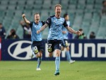 DAVID CARNEY of Sydney FC celebrates an own goal by Terry Antonis of the Victory during the A-League Semi Final match between Sydney FC and Melbourne Victory at Allianz Stadium on in Sydney, Australia.