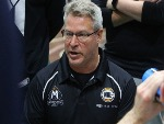 Melbourne United Head Coach DEAN VICKERMAN talks to his players during the NBL Blitz match between the Brisbane Bullets and Melbourne United at BM in Ballarat, Australia.