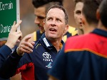DON PYKE Senior Coach of the Crows addresses his players during the 2017 Toyota AFL Grand Final match at MCG in Australia.