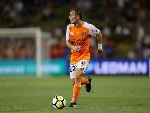 ERIC BAUTHEAC of Brisbane Roar in action during the A-League match between the Newcastle Jets and the Brisbane Roar at McDonald Jones Stadium in Newcastle, Australia.