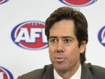 AFL CEO GILLON MCLACHLAN is seen speaking at a press conference at AFL House in Melbourne, Australia.