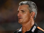 Tigers coach IVAN CLEARY looks on before the start of the NRL trial match between the North Queensland Cowboys and the Wests Tigers at Barlow Park in Cairns, Australia.
