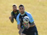 JACK BIRD of the Blues receives a pass during the New South Wales State of Origin training session in Coffs Harbour, Australia.