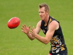 JACK RIEWOLDT of the Tigers marks during a Richmond Tigers AFL training session at ME Bank Centre in Melbourne, Australia.