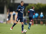 JAMES TROISI of the Victory controls the ball during a Melbourne Victory A-League training session at Gosch's Paddock in Melbourne, Australia.