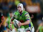 JARROD CROKER of the Raiders makes a run during the NRL match between the New Zealand Warriors and the Canberra Raiders at Mt Smart Stadium in Auckland, New Zealand.