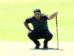 JASON DAY of Australia lines up a putt on the 9th hole during the 2017 Australian Golf Open at the Australian Golf Club in Sydney, Australia.