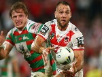 JASON NIGHTINGALE of the Dragons passes during the NRL match between the St George Illawarra Dragons and the South Sydney Rabbitohs at UOW Jubilee Oval in Sydney, Australia.
