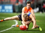 JEREMY CAMERON of the Giants tackles Jackson Nelson of the Eagles during the AFL match between the Greater Western Giants and the West Coast Eagles at Spotless Stadium in Sydney, Australia.