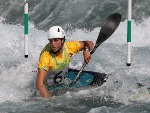 JESSICA FOX of Australia competes in Kayak (K1) Women during a practice session ahead of the 2016 Summer Olympic Games at the Whitewater Stadium in Rio de Janeiro, Brazil.