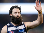 JIMMY BARTEL of the Cats looks dejected after a loss during the 2016 AFL Second Preliminary Final match between the Geelong Cats and the Sydney Swans at the MCG in Melbourne, Australia.