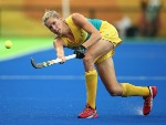 JODIE KENNY of Australia in action during the Women's Pool B Match between India and Australia of the Rio 2016 Olympic Games at the Olympic Hockey Centre in Rio de Janeiro, Brazil.