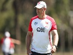 Swans coach JOHN LONGMIRE looks on during the Sydney Swans AFL pre-season training session at Lakeside Oval in Sydney, Australia.