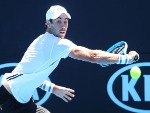 JORDAN THOMPSON of Australia plays a backhand in his match against Nicolas Kicker of Argentina during the 2018 Australian Open at Melbourne Park in Melbourne, Australia.