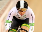 KAARLE MCCULLOCH of Australia competes in the Women's Sprint Qualification during the UCI Track Cycling World Championships at Lee Valley Velopark Velodrome in London, England.