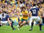 KARMICHAEL HUNT of the Wallabies runs with the ball during the International Test match at Allianz Stadium in Sydney, Australia.