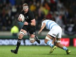 KIERAN READ of the All Blacks is tackled during The Rugby Championship match between the New Zealand All Blacks and Argentina at Yarrow Stadium in New Plymouth, New Zealand.
