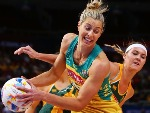 LAURA GEITZ of the Diamonds is challenged by LENIZE POTGIETER of South Africa during the 2015 Netball World Cup Qualification round match between Australia and South Africa at Allphones Arena in Sydney, Australia.