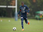 LEROY GEORGE of the Victory controls the ball during a Melbourne Victory A-League training session at Gosch's Paddock in Melbourne, Australia.