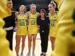 Australian coach LISA ALEXANDER talks to players in a huddle after victory in the Constellation Cup match between the Australian Diamonds and the New Zealand Silver Ferns at Qudos Bank Arena in Sydney, Australia.